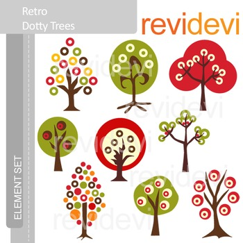 Clipart Retro Dotty Trees (nature, forest) clip art