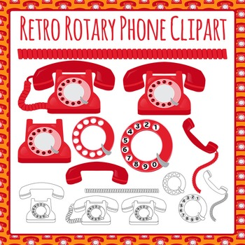 Phone (Vintage / antique / rotary) Clip Art Pack for Commercial Use