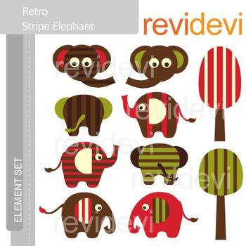 Clipart Retro Stripe Elephant E021 (front, back, side) clip art