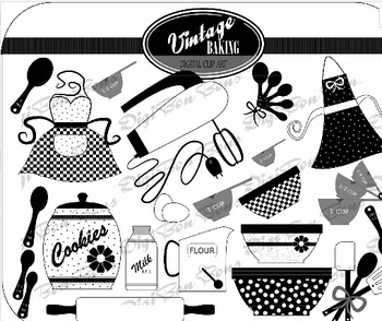 SALE- Retro Vintage Kitchen Black and White Clip art