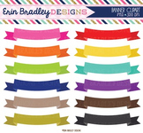 Clipart - Ribbon Banners in Rainbow Colors Digital Frame Graphics