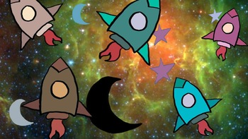 Clipart: Rockets, Moons and Stars for Classroom, Commercial or Personal Use!