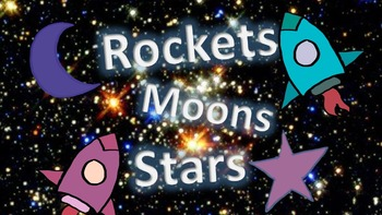 Clipart: Rockets, Moons and Stars for Classroom, Commercia