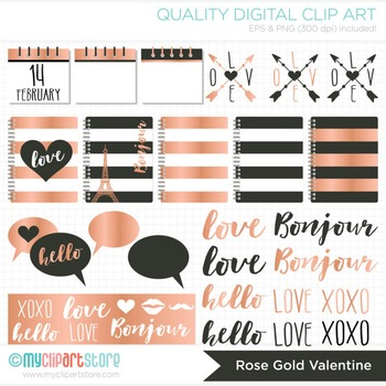 Clipart - Rose Gold Foil / Hipster / Modern Valentine's Day Elements