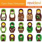 Clipart Russian Nesting Dolls - Choco Green Matryoshka