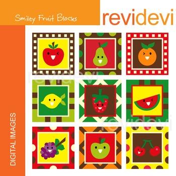 Clipart SMiley Fruit Blocks
