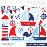 Clipart - Sail Away (Boy), Sailing, Nautical, Red and Blue Sailboats