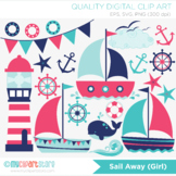 Clipart - Sail Away (Girl), Sailing, Nautical, Pink and blue sailboats