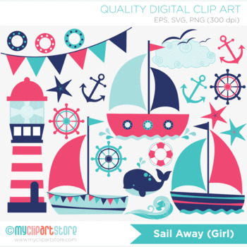 Clipart - Sail Away (Girl)