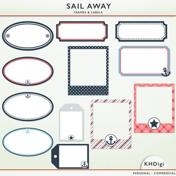 Clipart - Sail Away Nautical Frames and Tags