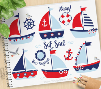 Clipart - Sailboats (Boy), Red and Navy blue