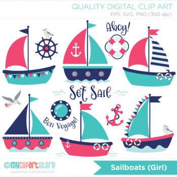 Clipart - Sailboats (Girl), Pink and blue