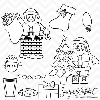 Clipart - Santa Clause and Christmas Clip Art Black Line Art