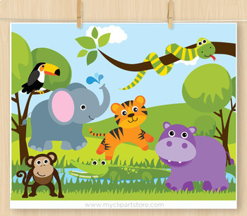 Clipart - Savannah Zoo Animals (Jungle Animals)