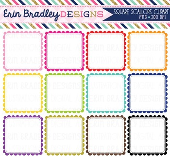 Clipart - Scalloped Square Frames