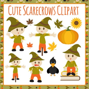 Scarecrows Clip Art Set for Commercial Use