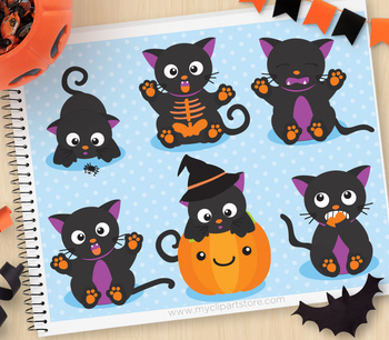 Clipart - Scaredy Cats (Halloween)