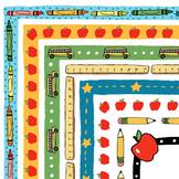 Clipart: School Days Border Set | Back to School Borders | School Clipart Frames