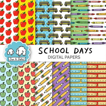 Clipart: School Days Digital Papers for Personal and Commercial Use