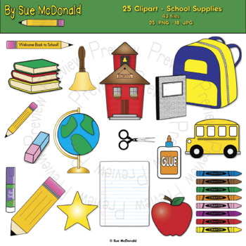 Clipart, School Supplies - High Quality Vector Graphics