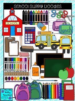 Clipart - School Supply Doodles