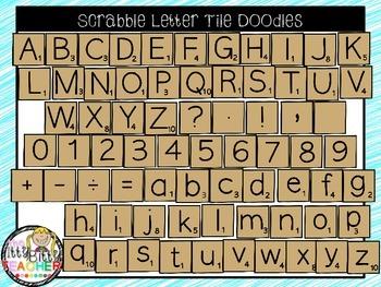 Clipart - Scrabble Letter Tile Doodles - 142 Images