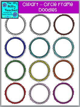 Clipart - Doodle Scalloped Circle Frame Borders - 48 images