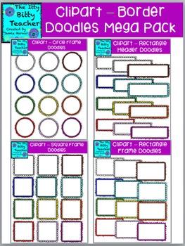 Clipart - Doodle Scalloped Frame Borders Mega Bundle - 192 images