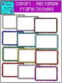 Clipart - Doodle Scalloped Rectangle Border Frames - 48 images