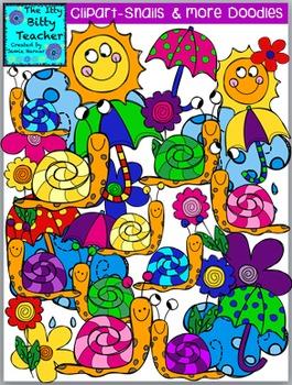 Clipart - Doodle Spring Snails