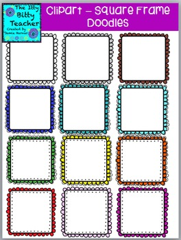 Clipart -  Doodle Scalloped Square Frames - 48 images
