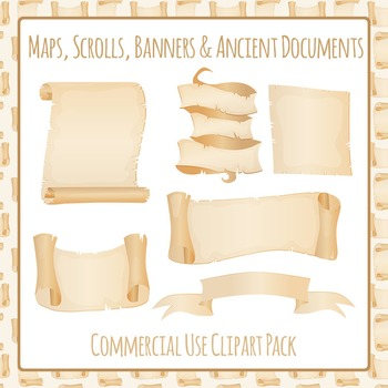 Scrolls, Banner, Map or Ancient Document Clip Art Pack Commercial Use Ok