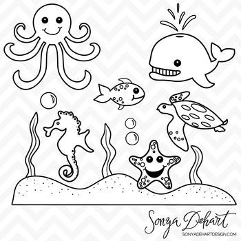 Clipart - Sea Creatures Ocean Animals Black Line Art