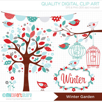 Clipart - Seasons: Winter Garden (Christmas)