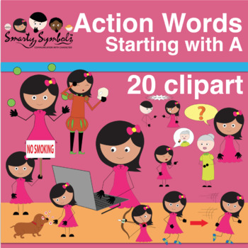 Clipart Set {FREEBIE} -Action words with A
