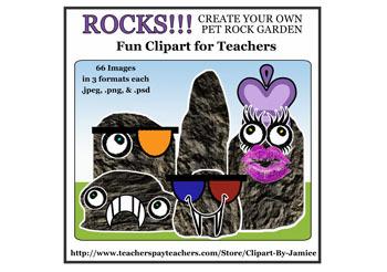 Clipart Set: Rocks! - Create Your Own Pet Rock Garden -Graphics