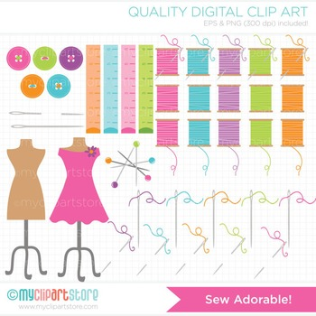 Clipart - Sew Adorable / Sewing / Seamstress