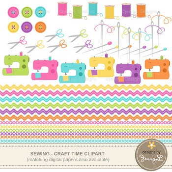 Clipart: Sewing , Craft Buttons, Sewing Machine, Pins, Needles, Thread Spool,