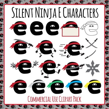 Silent Ninja Es Clip Art Pack for Commercial Use