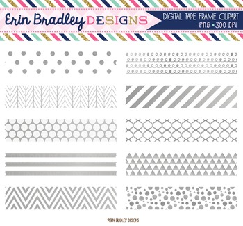 Clipart - Silver Foil Digital Washi Tape