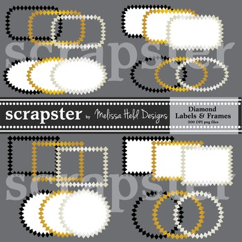 Clipart: Silver Gold Diamond Labels and Frames Clip Art