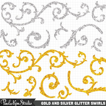 Clipart - Silver and Gold Swirls