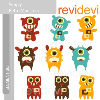Monsters clip art: Retro monsters