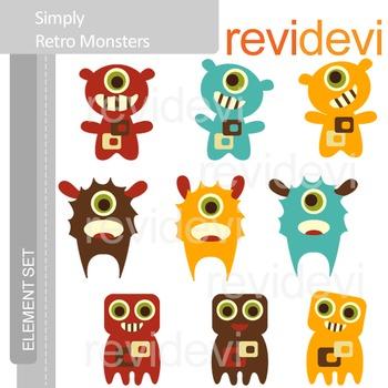 Monsters clip art: Retro monsters