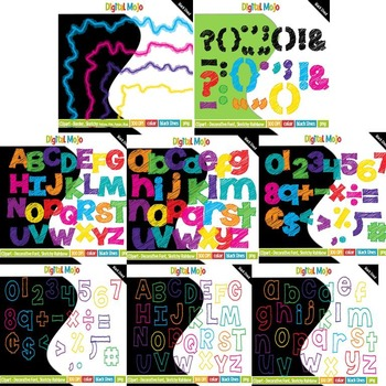 Alphas - Sketchy Rainbow Themed Bundle (Letters, Numbers and Borders)