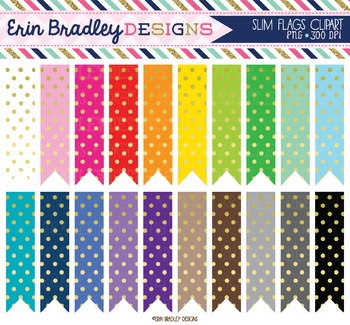 Clipart - Slim Flags with Gold Foil Polka Dots