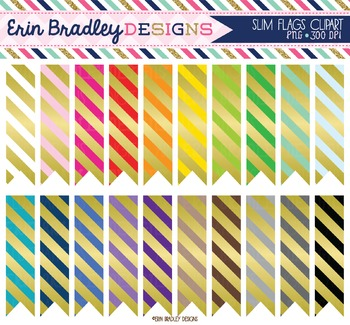 Clipart - Slim Flags with Gold Foil Stripes