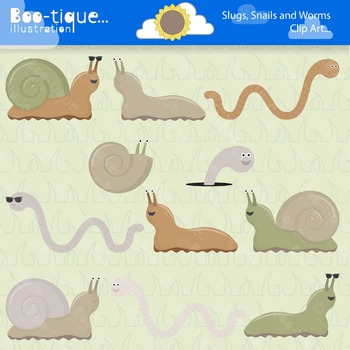 Clipart- Slugs, Snails an Worms Digital Clip Art. Grass Backgrounds