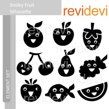 Clipart Smiley Fruit Silhouette (clip art) E023
