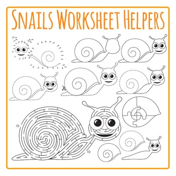 Snails Worksheet Helpers Clip Art, Mazes, Dot to Dots, and Tracing